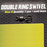CARPLEADS Double Ring Swivel Gr. 8 - 7 Stück - Matt Black Wirbel