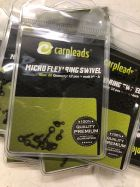 CARPLEADS Micro Flexi Ring Swivel Gr. 20 - 12 Stück - Matt Black Wirbel
